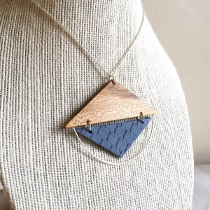 Triangle Pendant – White Maple and Scalloped Leather