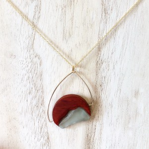 Pemaquid Pendant –  Redheart and Green Sea Glass