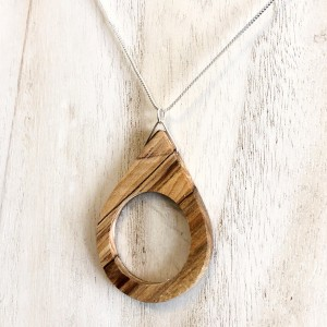 Teardrop Pendant -Spalted Maple & Selenite
