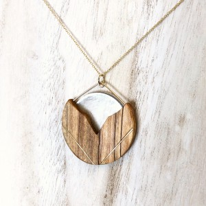 Tulip Pendant -Spalted Maple & Selenite
