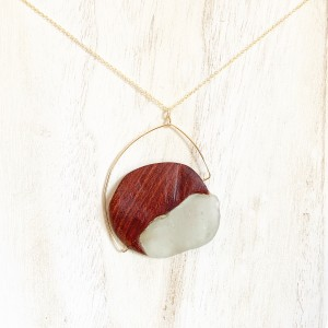 Pemaquid Pendant – Bloodwood & Green Sea Glass